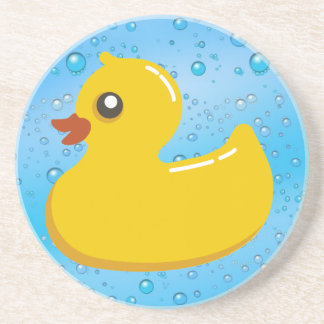 Cute Rubber Ducky/Blue Bubbles Drink Coaster