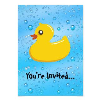 Cute Rubber Ducky/Blue Bubbles 13 Cm X 18 Cm Invitation Card