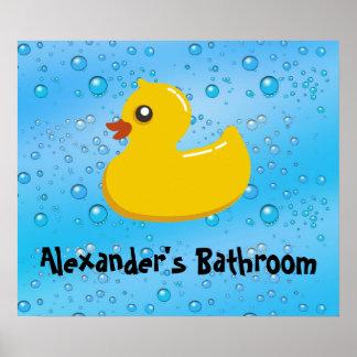 Cute Rubber Ducky/Blue Bubbles Poster
