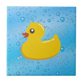 Cute Rubber Ducky/Blue Bubbles Small Square Tile