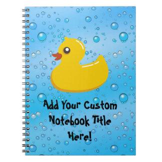 Cute Rubber Ducky/Blue Bubbles Spiral Note Book