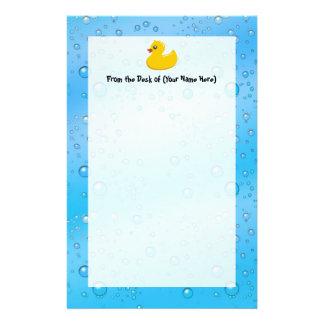 Cute Rubber Ducky/Blue Bubbles Stationery