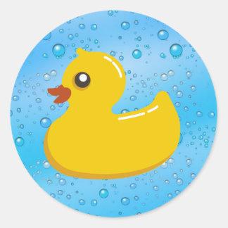 Cute Rubber Ducky/Blue Bubbles Classic Round Sticker