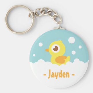 Cute Rubber Ducky in Bubble Bath Basic Round Button Key Ring