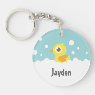 Cute Rubber Ducky in Bubble Bath Double-Sided Round Acrylic Key Ring