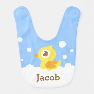Cute Rubber Ducky in Bubble Bath for Baby Boy Bib