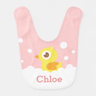 Cute Rubber Ducky in Bubble Bath for Baby Girl Bib