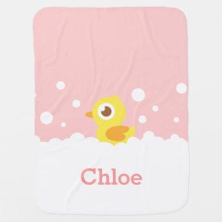 Cute Rubber Ducky in Bubble Bath for Baby Girl Swaddle Blankets