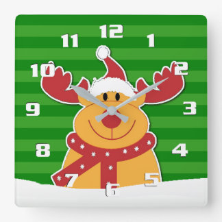 Cute Rudolph in The Snow Fun Christmas Wall Clocks