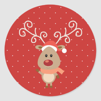 Cute Rudolph the red nosed reindeer cartoon Classic Round Sticker