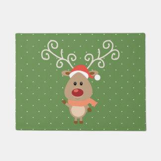 Cute Rudolph the red nosed reindeer cartoon Doormat