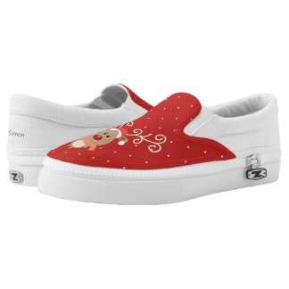Cute Rudolph the red nosed reindeer cartoon Slip On Shoes