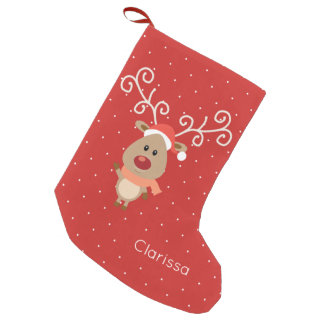Cute Rudolph the red nosed reindeer cartoon Small Christmas Stocking