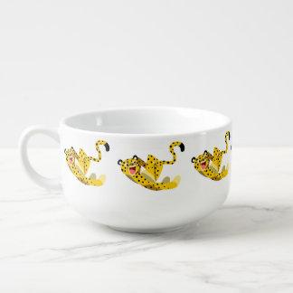 Cute Running Cartoon Cheetah Soup Mug