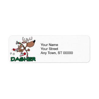 cute running reindeer DASHER cartoon Return Address Label