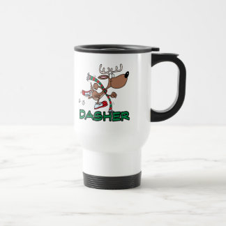 cute running reindeer DASHER cartoon Stainless Steel Travel Mug