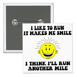 Cute running saying 15 cm square badge