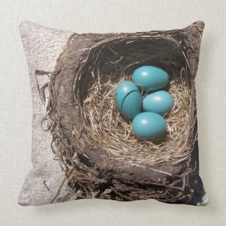 Cute Rustic Bird's Nest Blue Robin Eggs Cushion