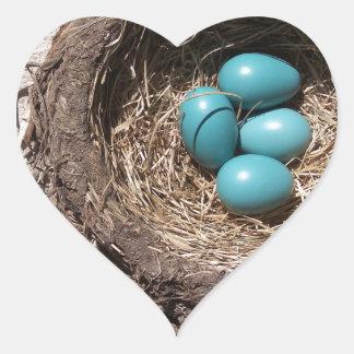 Cute Rustic Bird's Nest Blue Robin Eggs Heart Sticker