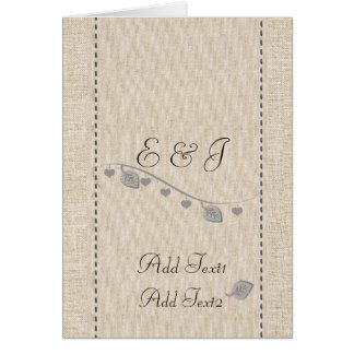 Cute Rustic Cute Hearts Garland Monogrammed Card