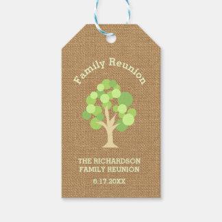 Cute Rustic Green Tree and Burlap Family Reunion