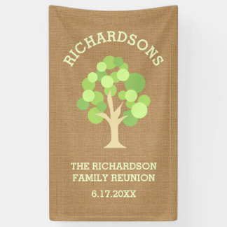 Cute Rustic Green Tree and Burlap Family Reunion Banner