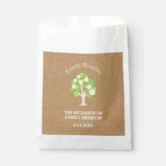 Cute Rustic Green Tree and Burlap Family Reunion Favour Bag