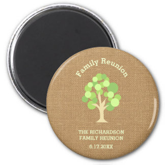 Cute Rustic Green Tree and Burlap Family Reunion Magnet