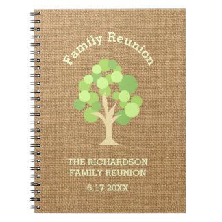 Cute Rustic Green Tree and Burlap Family Reunion Notebook