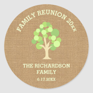 Cute Rustic Green Tree and Burlap Family Reunion Round Sticker
