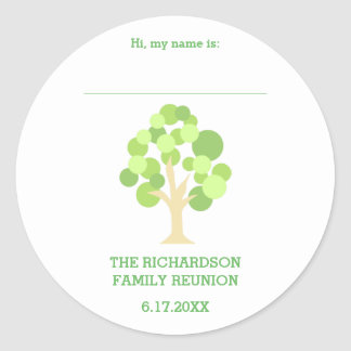 Cute Rustic Green Tree Family Reunion Name Tag Round Sticker