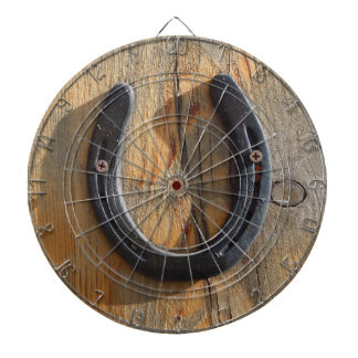 Cute Rustic Western Good Luck Horseshoe Wood Look Dartboard