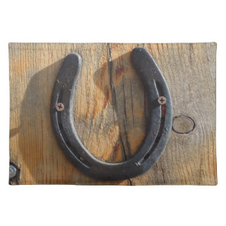 Cute Rustic Western Good Luck Horseshoe Wood Look Placemat