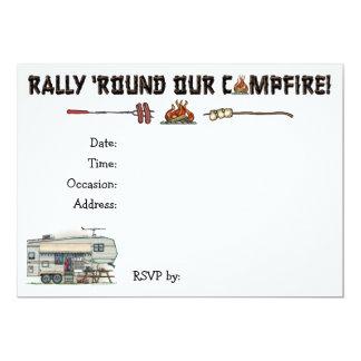 Cute RV Vintage Fifth Wheel Camper Travel Trailer 13 Cm X 18 Cm Invitation Card
