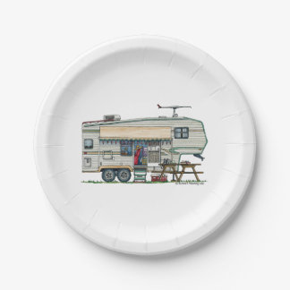 Cute RV Vintage Fifth Wheel Camper Travel Trailer 7 Inch Paper Plate