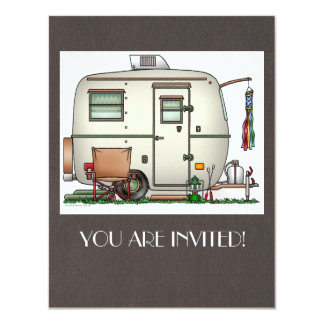 Cute RV Vintage Glass Egg Camper Travel Trailer 11 Cm X 14 Cm Invitation Card