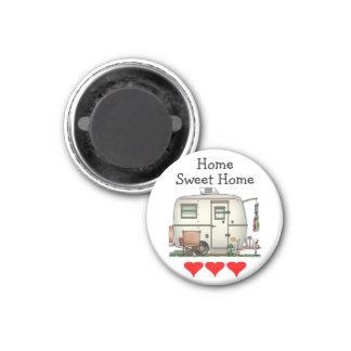 Cute RV Vintage Glass Egg Camper Travel Trailer 3 Cm Round Magnet