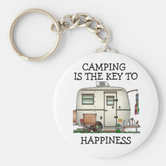 Cute RV Vintage Glass Egg Camper Travel Trailer Basic Round Button Key Ring