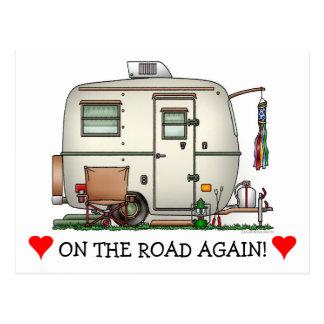 Cute RV Vintage Glass Egg Camper Travel Trailer Postcard