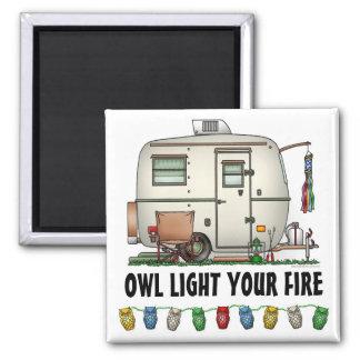 Cute RV Vintage Glass Egg Camper Travel Trailer Square Magnet