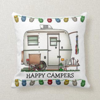 Cute RV Vintage Glass Egg Camper Travel Trailer Throw Cushions
