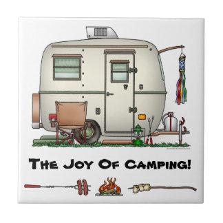 Cute RV Vintage Glass Egg Camper Travel Trailer Tile