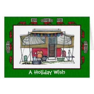 Cute RV Vintage Pop Up Camper Trailer Holiday Card