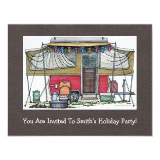 Cute RV Vintage Popup Camper Travel Trailer 11 Cm X 14 Cm Invitation Card