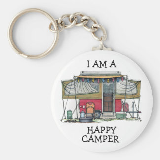 Cute RV Vintage Popup Camper Travel Trailer Basic Round Button Key Ring