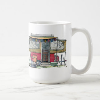 Cute RV Vintage Popup Camper Travel Trailer Coffee Mug