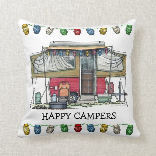 Cute RV Vintage Popup Camper Travel Trailer Throw Pillow