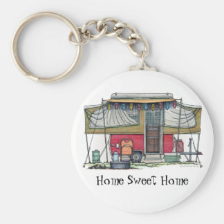 Cute RV Vintage Popup Camper Travel Trailer Key Ring