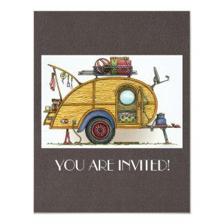 Cute RV Vintage Teardrop  Camper Travel Trailer 11 Cm X 14 Cm Invitation Card