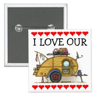 Cute RV Vintage Teardrop Camper Travel Trailer Pinback Button